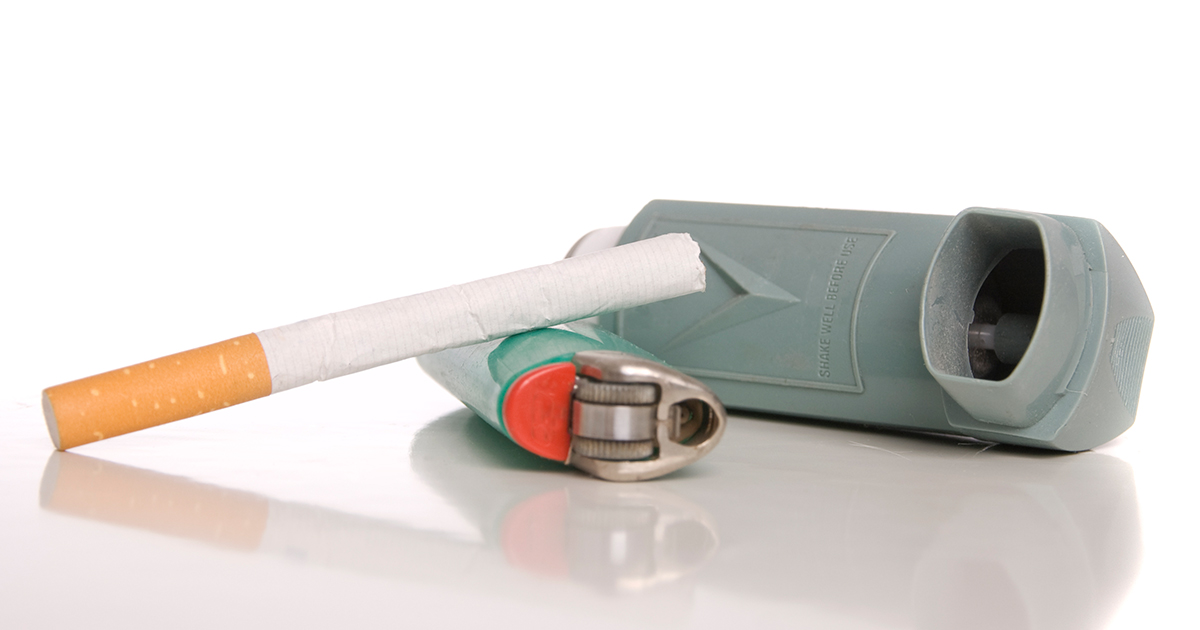Image of cigarette, lighter and inhaler