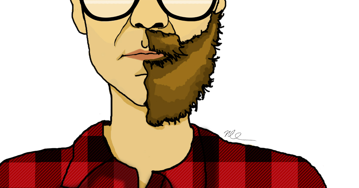 Illustration of a man in plaid and glasses with a beard on half his face and clean shaven on the other