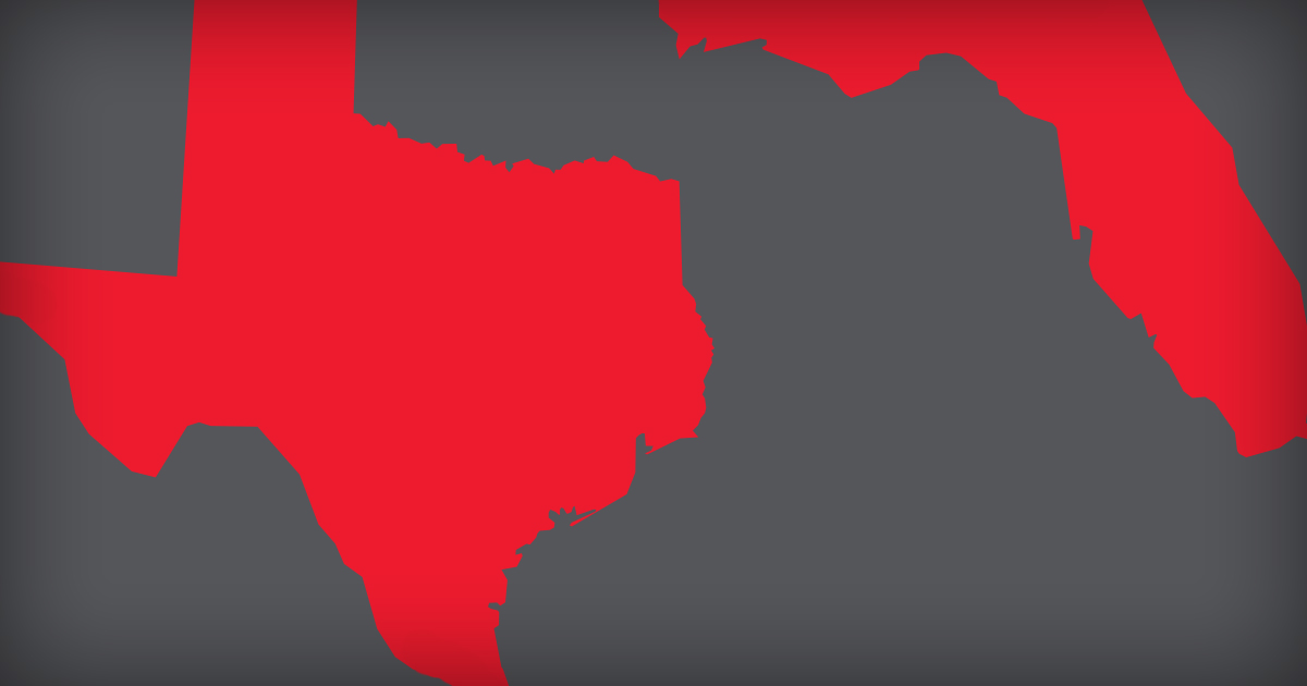Dark grey background with red cut outs of Texas and Florida next to each other