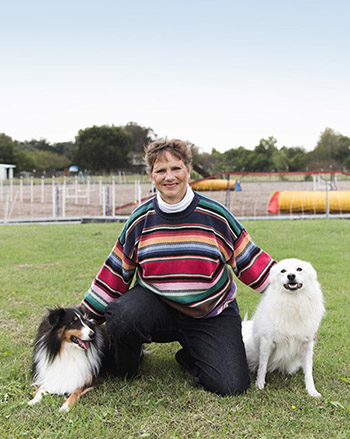 Donna Fernandez and Her Eskimo Dogs