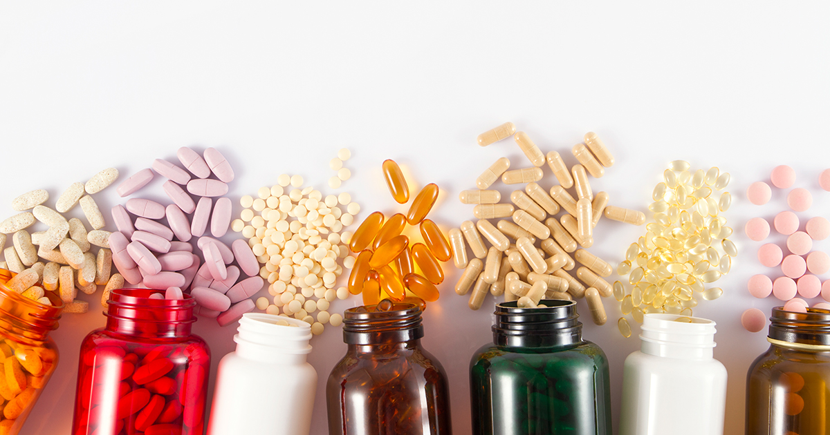 Assortment of different vitamins and pills.