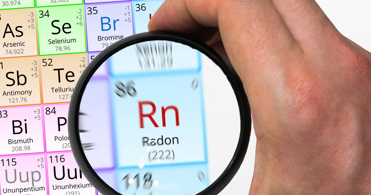 lens magnifying the radon symbol of the periodic table