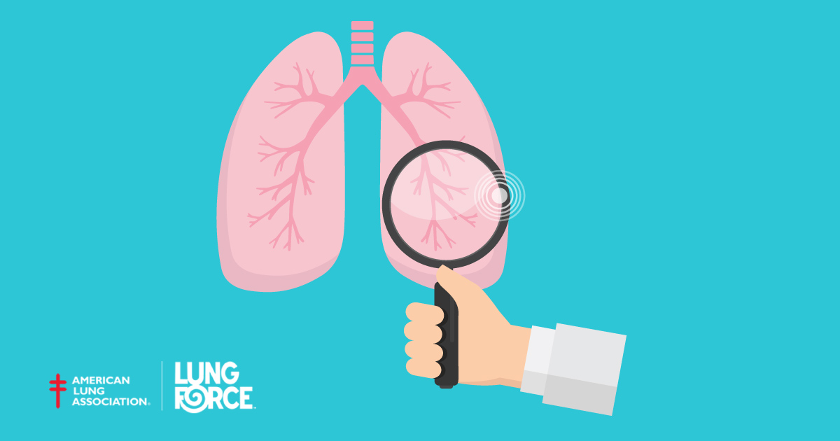 graphic of a magnifying glass over a lung