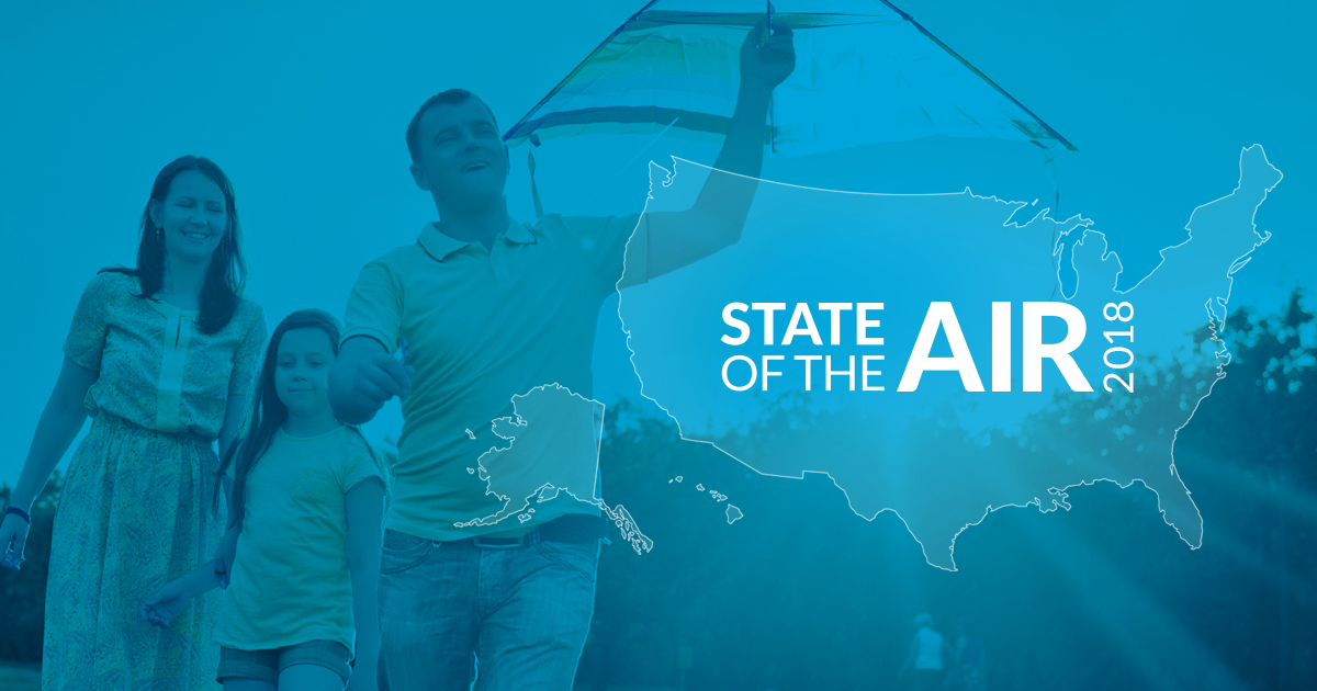 Cover image for American Lung Association's State of the Air report with family flying kite.