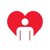 Person inside heart shape icon