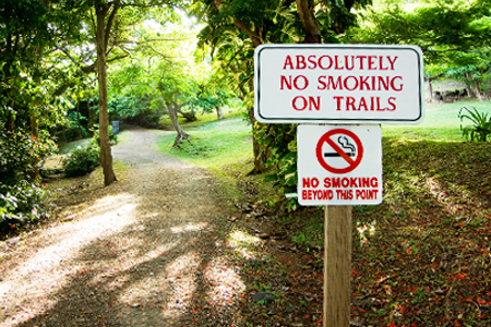 No smoking on trails sign